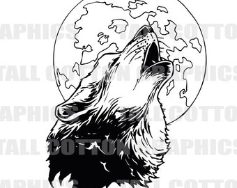 WOLF HOWLING at the MOON Vinyl Decal Sticker decor #WL109