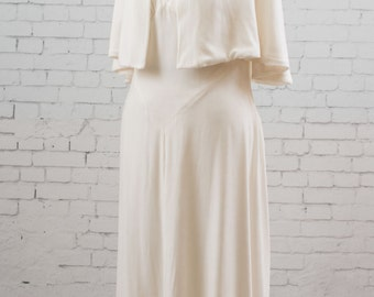 Natural white velvet evening gown, wedding dress, with hooded cape, vintage