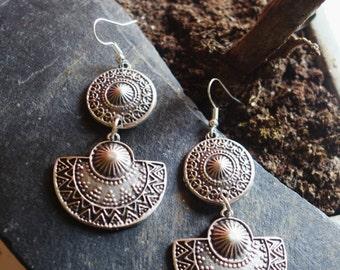 Silver ethnic dangling earrings