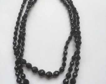 Vintage Art Deco Black French Jet  Faceted Beads Three Rows Chocker Necklace 1930s Costume Jewelry