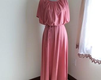 80s Pink Rose Maxi, Drape Bodice Sleeveless Dress Tie Belt, Size 14 Formal Gown