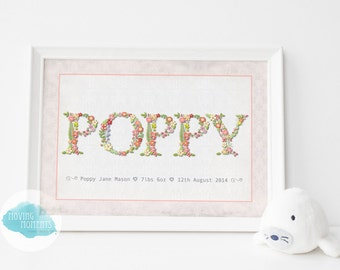 Personalised Floral Themed Name Print - FRAMED