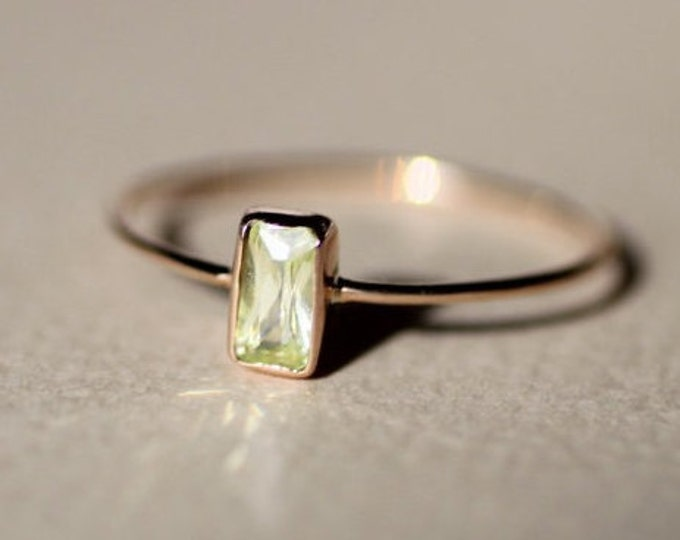 Chrysolite Gold Ring Natural Stone May Birthstone Simple Minimalist Dainty  Engagement Gemstone Jewelry Stacking Yellow green Solid Gold Ring
