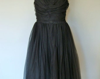 1950s Prom Dress Vintage Black Tulle Goth Steampunk Costume