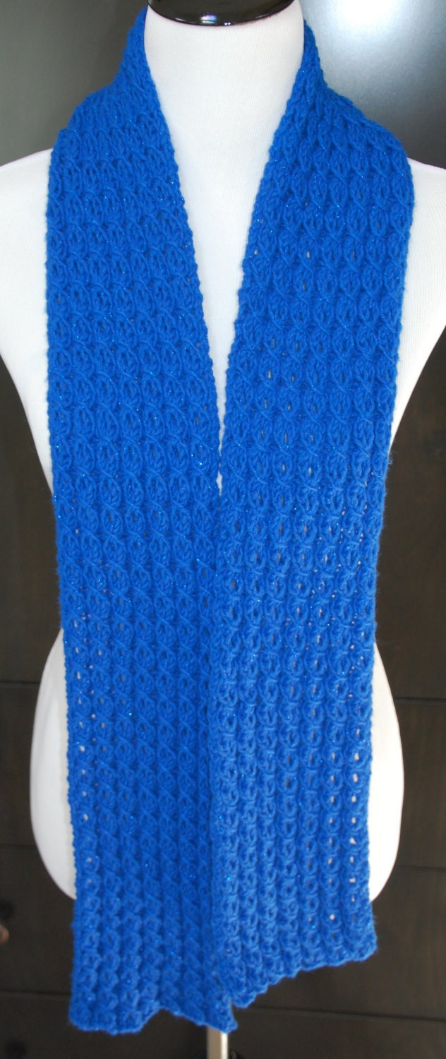 hand knitted eyelet cable stitch scarf