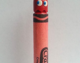Pac-man Ghost Blinky Carved Crayon