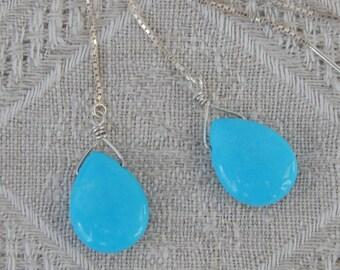 Turquoise Threader Earrings, Sleeping Beauty Turquoise Earrings, Turquoise & Sterling Briolette Earrings, December Birthstone