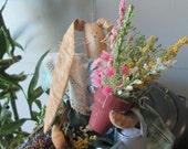 "12"" Spring Gardening Rabbit - handmade"