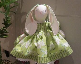 Cloth Rabbit Doll , Spring Baby Rabbit , Child Friendly Doll , Handmade Fabric Doll