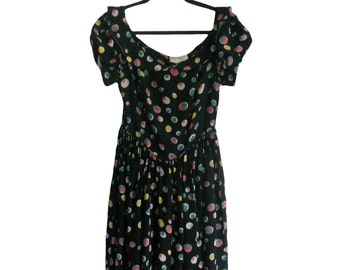 Vintage 1940s Dress Black With Multicolor Circle Print Scoop Neck Collar and Puffy Short Sleeves -  Party Lines by Domb Made in California