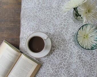 "Linen Table Runner - Zinnia Screen Printed Linen Table Runner, in White or Black on Natural Linen, 18 x 50"", Floral Runner, Tablescape"