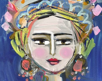Warrior Girl Print woman art impressionist modern abstract girl painting canvas