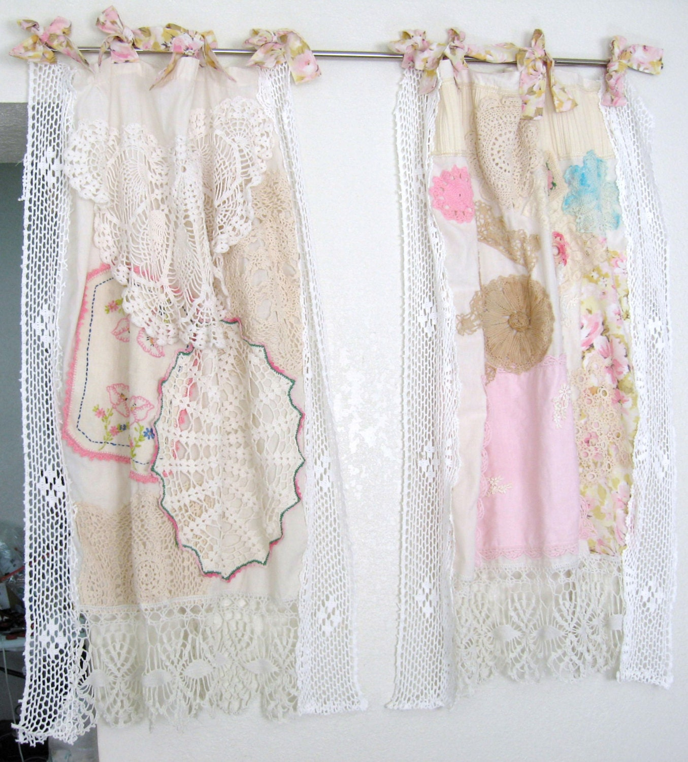 Shabby Chic Window Curtain Vintage Crochet Vintage Embrodery