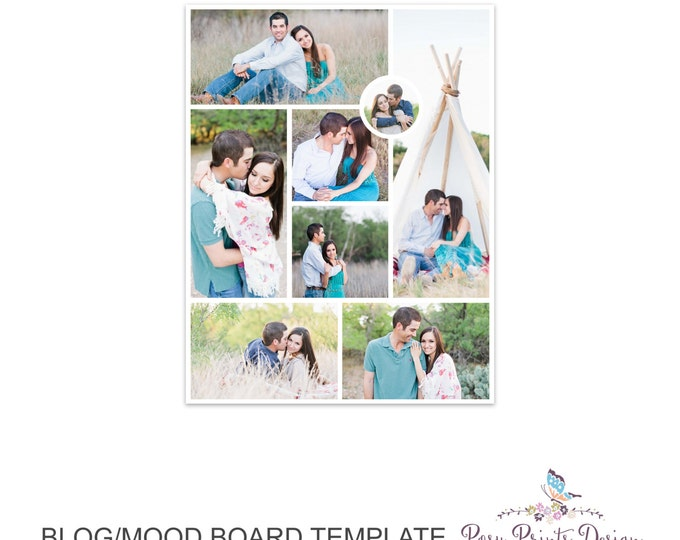 Blog Board & Mood Board - Collage Template - 8.5x11 - Social Media Collage Template - Digital Storyboard - Instant Download - BMB08
