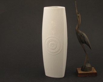 German white Op Art porcelain vase by AK Alka Kunst Abolth & Kaiser, 70s,