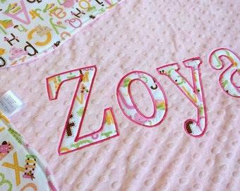 Personalized Baby Blanket - Custom Baby Blanket - Minky Baby Girl Blanket - Custom Made Blanket - Personalized Baby Shower Gift - Girl Gift