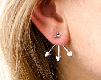 Sterling Silver Ear Jacket Earrings Arrowhead Ear Cuff Earrings Boho Jewelry - JKT006