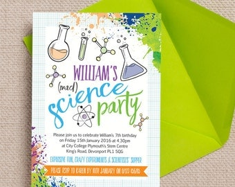 Personalised Mad Science Birthday Party Invitation Cards or Magnets