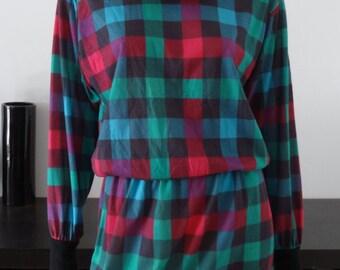 Robe vintage AVON FASHIONS carreaux rose/vert/bleu/mauve taille eu 40/42 - uk 12/14 - us 8/10