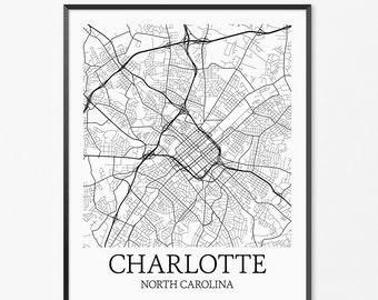 Charlotte Map Art Print, Charlotte Poster Map of Charlotte Decor, Charlotte City Map Art, Charlotte Gift Charlotte North Carolina Art Poster