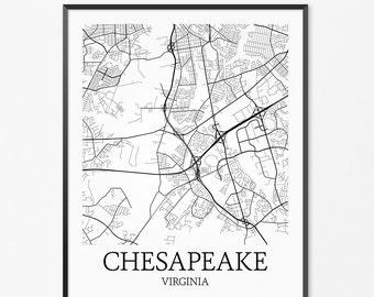 Chesapeake Map Art Print, Chesapeake Poster Map of Chesapeake Decor, Chesapeake City Map Art, Chesapeake Gift, Chesapeake Art Poster