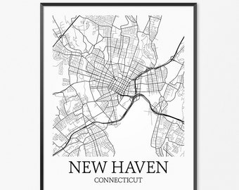 New Haven Map Art Print, New Haven Poster Map of New Haven Decor, New Haven City Map Art, New Haven Gift, New Haven Connecticut Art Poster