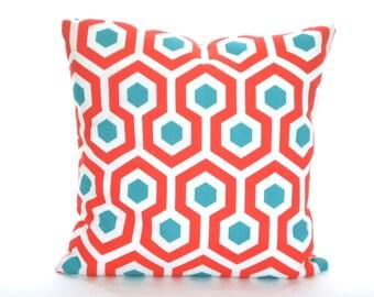 OUTDOOR Nautical Pillow Covers, Decorative Throw Pillows, Cushions, Coral Aqua White Magna Calypso, Beach Decor, Patio Pillows One All SIZES
