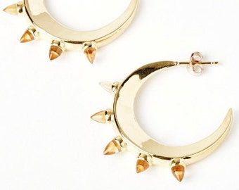 Gold Moonshine Crescent Hoop Earring with Gemstones