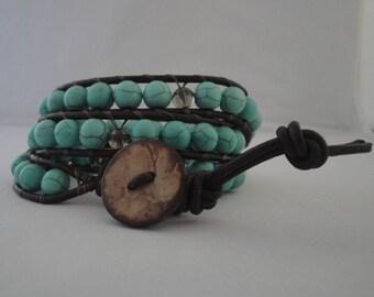 Magnesite and Smoky Quartz Wrap Around Bracelet