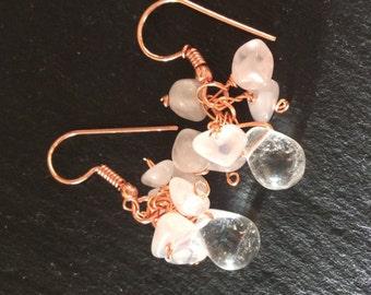 Rose Quarts Cluster Earrings