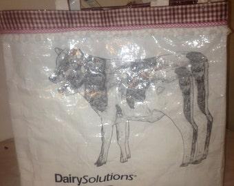 Heifer Cow Recycled Handmade Feed Bag Tote Bag