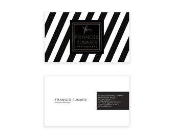 Black & White Chevron Business Card Design - Striped Business Card - Premade Business Card - Printable Business Calling Card Graphic Design