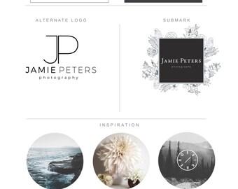 Branding Package - Minimalist Botanical Hand Drawn Fern Custom Branding - Graphic Design - Watermark - Brand Identity - Wedding Modern Logo