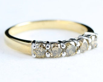 Champagne diamond engagement band in 9 carat gold for her