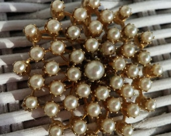 1950's Pearl Cluster Pin Brooch with Pendant