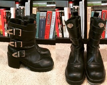 Harley Davidson Biker Boots Women's Vintage 90's Black Leather Buckle Motorcycle Boots with Chunky Heel Size 7.5