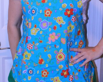 Blue & Green Floral Ruffled Apron