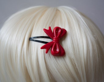 Red and Black Lolita Bow Hair Clips