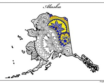 Alaska Map Adult Coloring Page USA Printable Pages