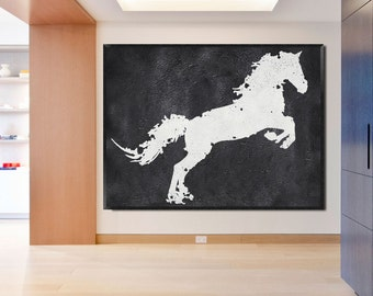 Large oil painting-Original Abstract painting on canvas-Home fine art-Horse-Black/White