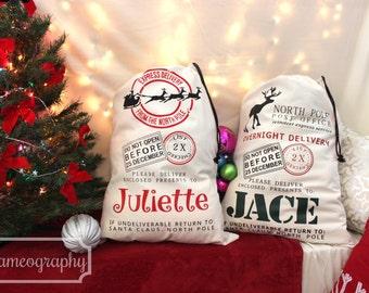 TWO (2) Personalized Christmas Santa Sacks Holiday Gift Bags Totes Canvas- Santa Claus Sleigh Reindeer Customized