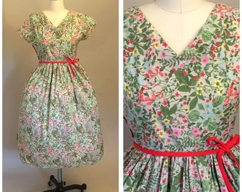 Vintage 1950s Cotton Day Dress Garden Party Forget Me Not