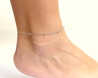 Chain Anklet, Silver Ankle Bracelet, Foot Bracelet, Dainty Silver Bracelet, Stacking Anklet, Simple Beaded Anklet, 11 and 12 Inch Anklet