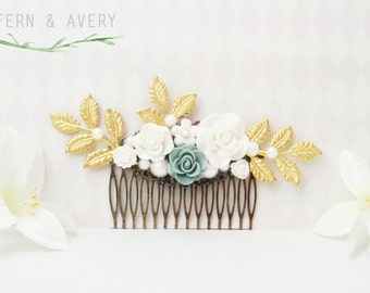Elegant sage green, gold and white hair comb. Gray green, white and gold flower comb.
