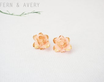 Gold and peach pink flower post earrings sterling silver elegant dainty