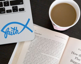 Jesus Fish Faith Car Laptop Vinyl Decal Sticker