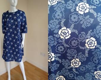 Vintage 1960's Blue and White Floral Crop Sleeved Summer A Line Dress