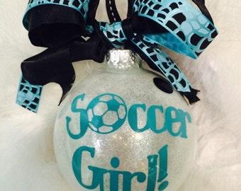 "Soccer Girl//Sports//Glitter Glass Ornament//4"""