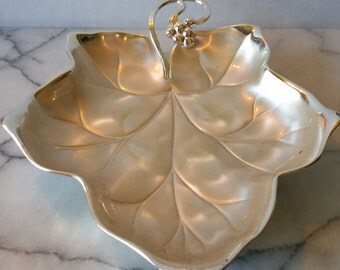 Vintage WMF IKORA Silver Plated Leaf Motif Candy Dish, Party Plate, Serving Tray