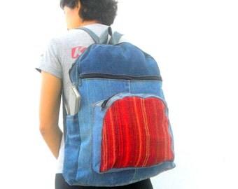 Denim backpack denim jeans Bag Recycled Denim Boho bag, Denim handbag, Jeans purse, Tote bag, Recycled Denim vintage Bohemian Bag Hippie Bag
